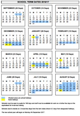 Term dates 2016-2017