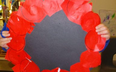 Making a poppy wreath.
